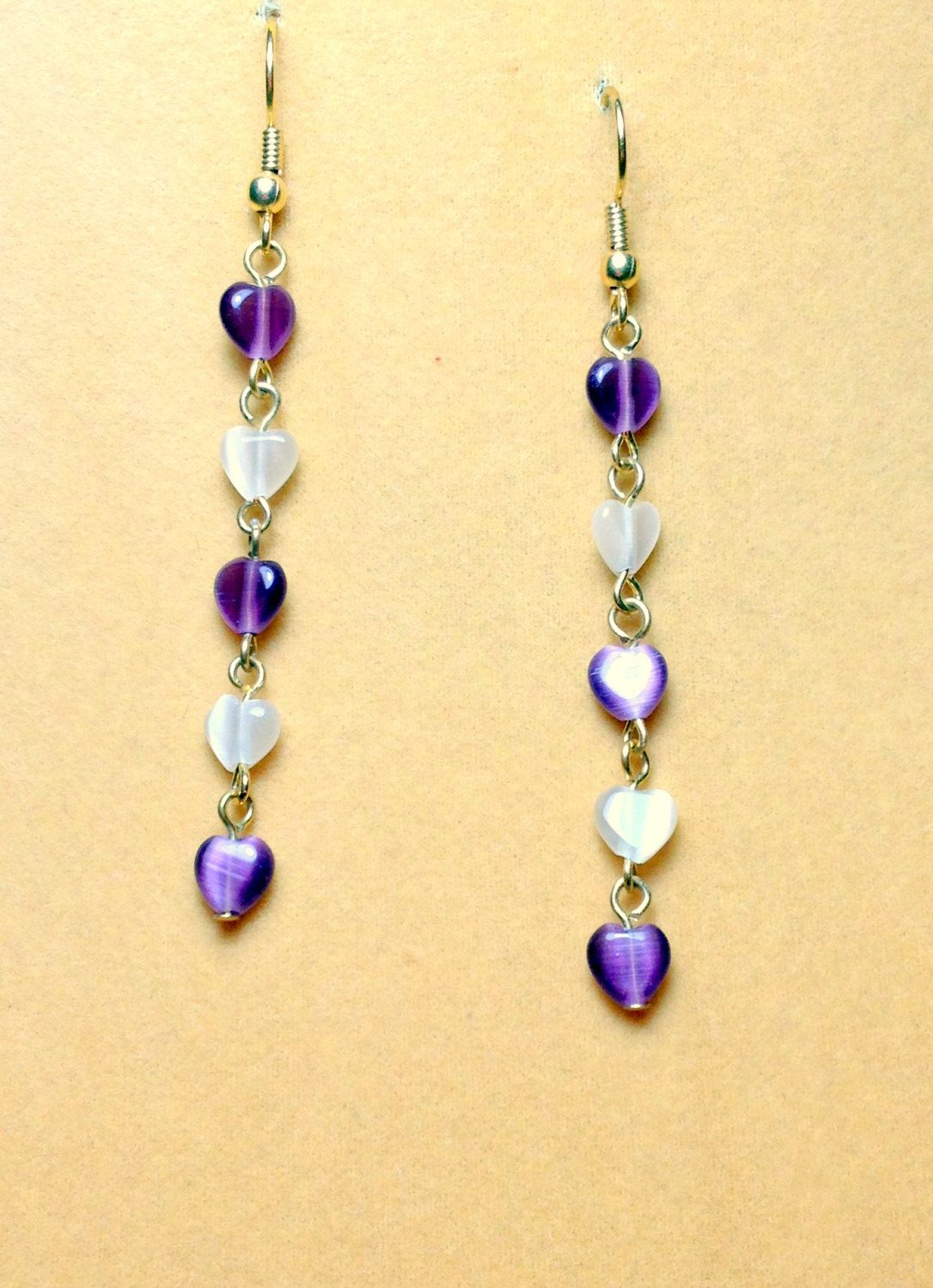 Amethyst and Tan Cat Eye Heart Dangle Chain Drop Earrings / Heart ...