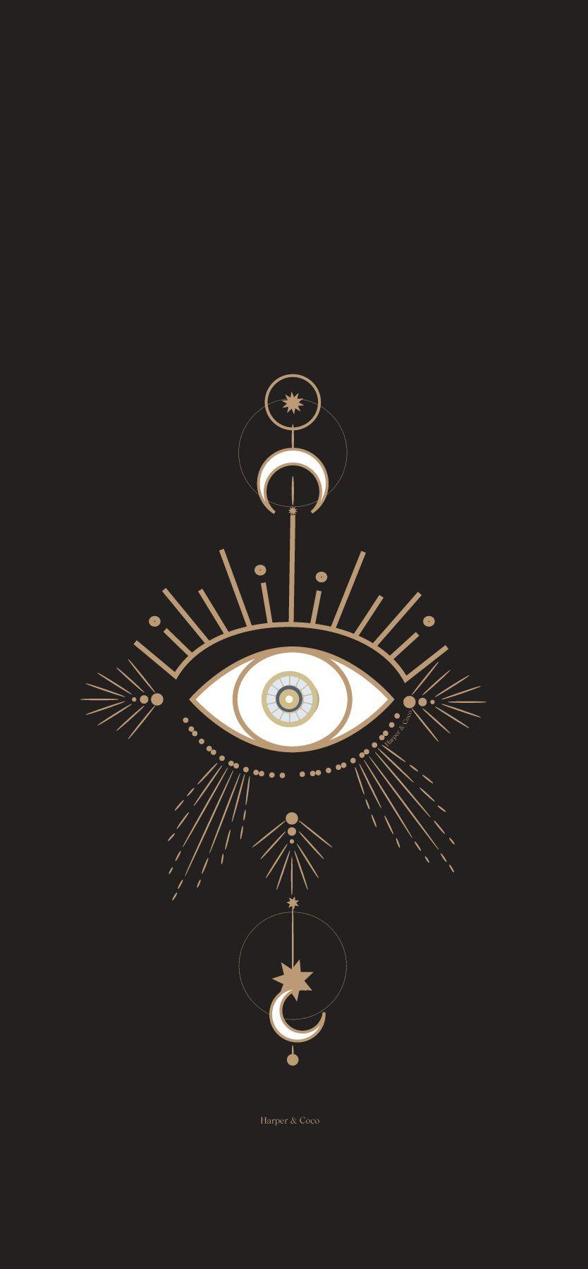Evil eye blue digital print bohemian poster blue and gold   Etsy ...