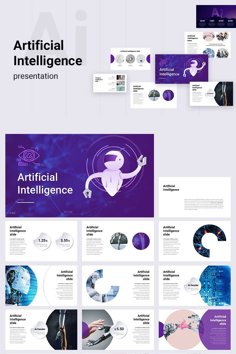 Artificial Intelligence Powerpoint Template 78958 Artificial Intelligence Technology Artificial Intelligence Machine Learning Artificial Intelligence