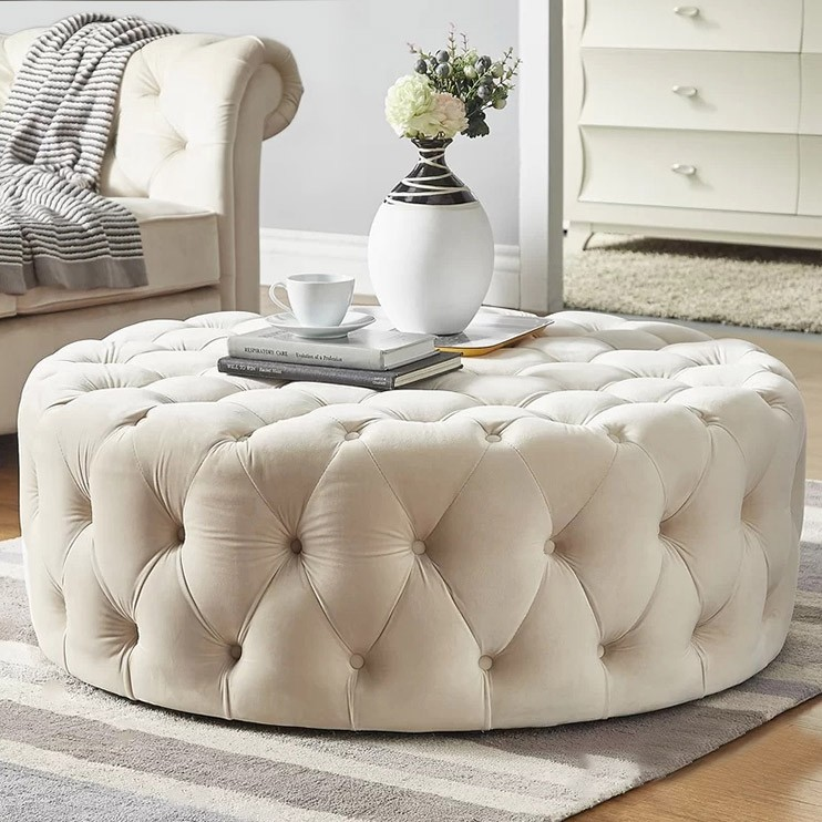 Tufted Ottoman Light Gray Pink Beige Deep Blue Velvet Ottoman Coffee Table Tufted Cocktail Ottoman Round Ottoman Pouf Small Large In 2020 Ottoman Decor Tufted Ottoman Coffee Table Round Tufted Ottoman