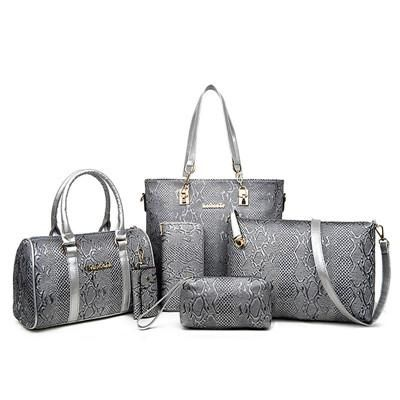 250c3aab2516a Women Leather Handbag Messenger Composite Bags 6 Sets Ladies Designer  Handbags Famous Brands Fashion Bag For Female Classic Bag
