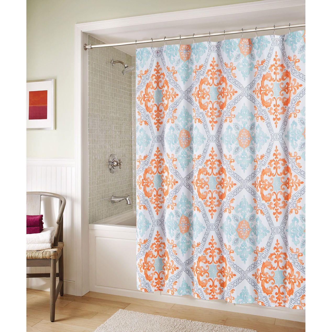 coral and blue shower curtain. Blue and Orange Marcone Shower Curtain  At Home Projects