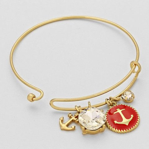 221288cdf8f Nautical Anchor Charm Wire Bangle Bracelet. Pulseiras Em PrataNós ...