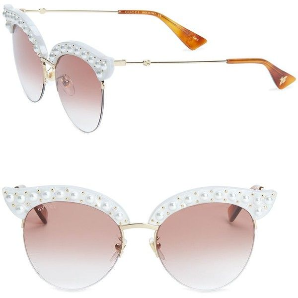 b6face4ed42 Gucci Faux Pearl-Trim Cat Eye Sunglasses (2080 TND) ❤ liked on Polyvore  featuring accessories