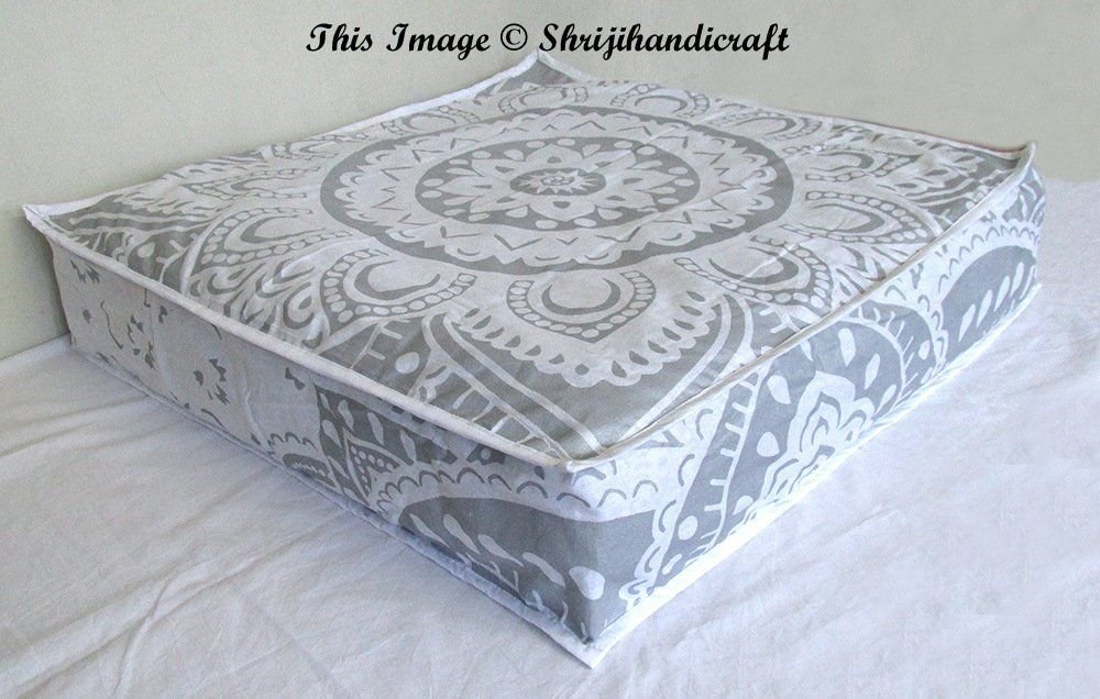 New 35x35 Square Large Indian White Silver Mandala Dog Bed Cover