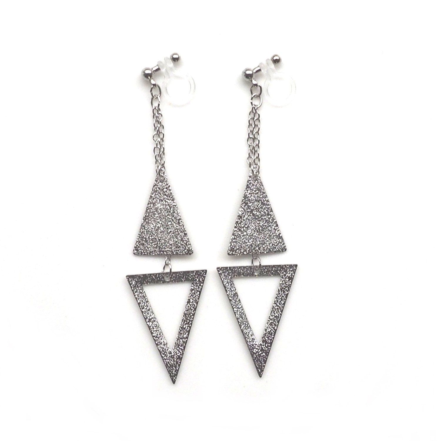 Metallic Silver Triangle Invisible Clip On Earrings, Dangle Geometric Clip  Earrings, Non Pierced Earrings, Minimalist Clipons, Gift For Her