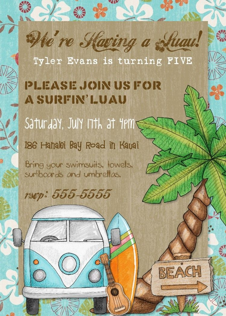 surf party! | Party- Hawaiian Luau | Pinterest | Party invitations ...