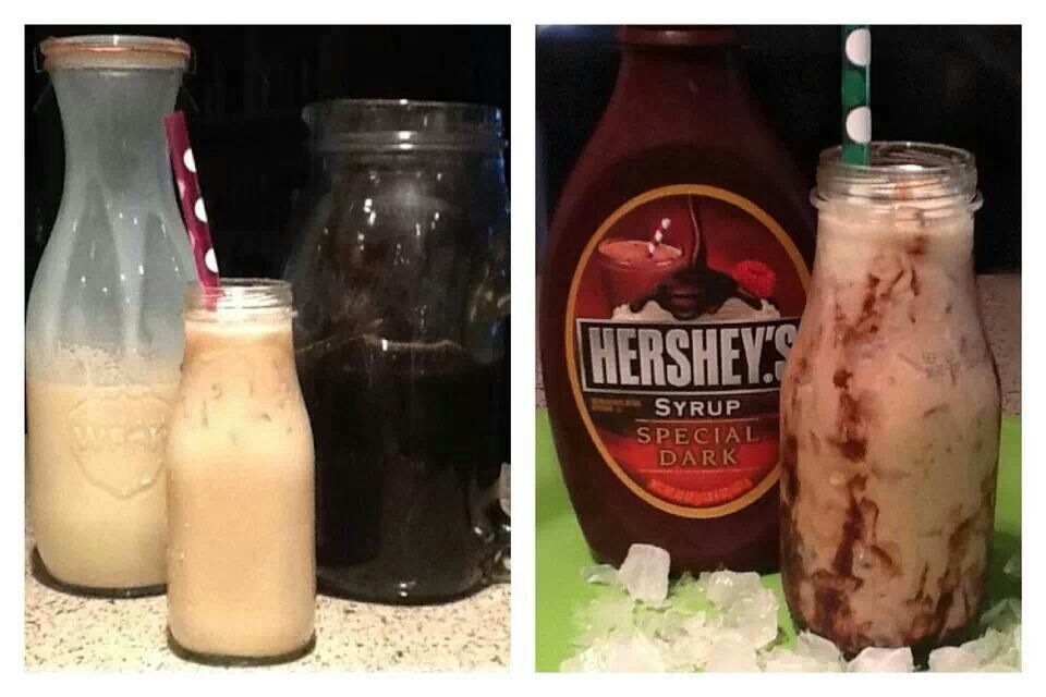 Ice coffee food hershey syrup ketchup bottle