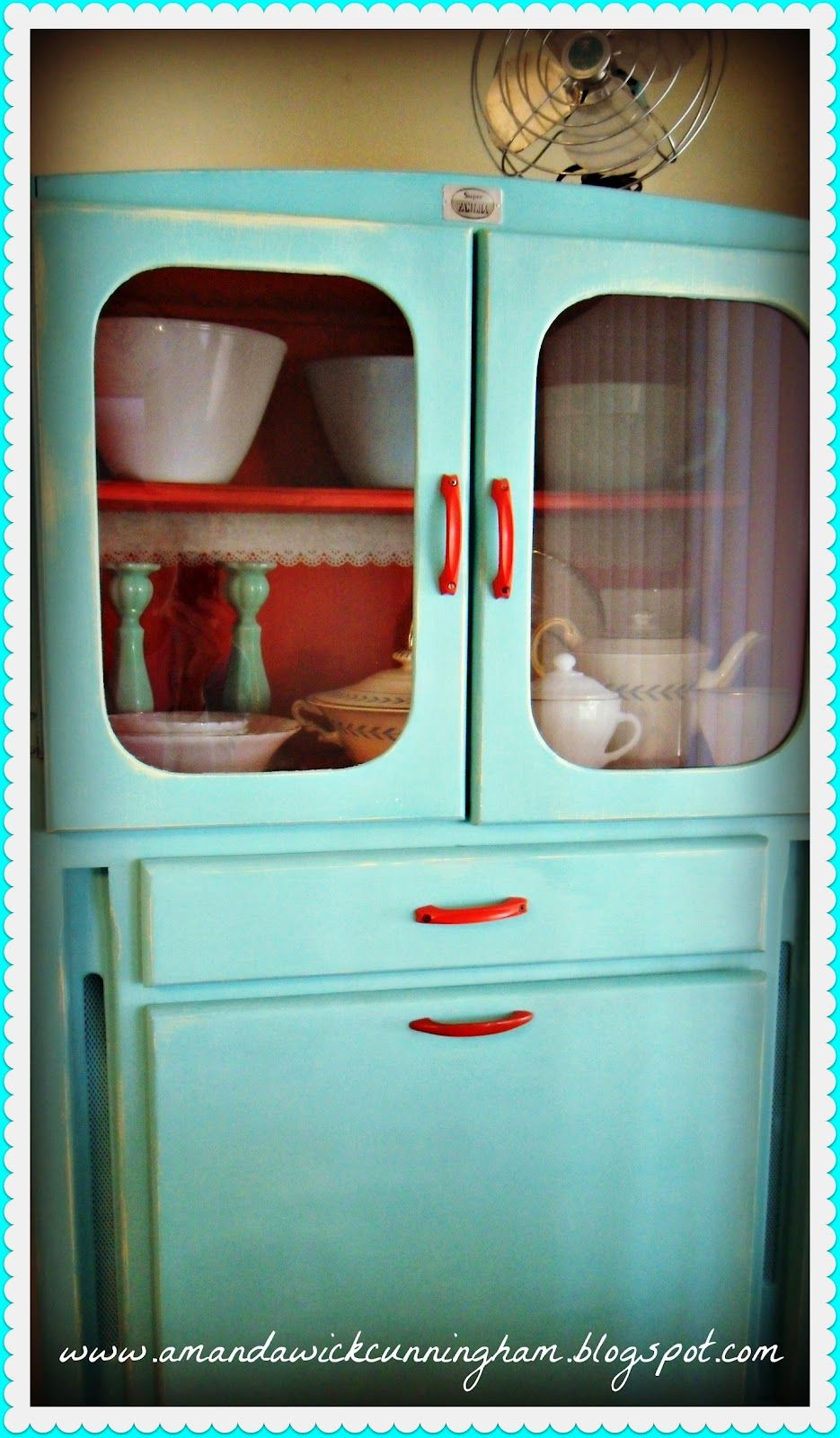 Love the Red Handles on this old painted Kitchen Cabinet. | Red ...