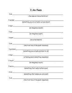 I Am Poem Worksheet - Sharebrowse