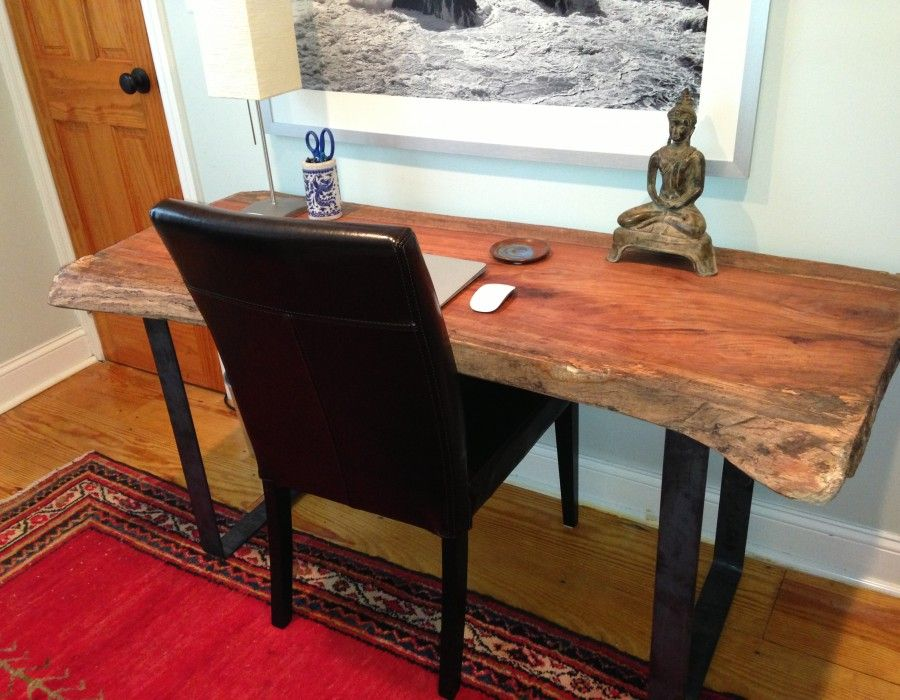 Metal Bench Supports as Table Legs? Live edge wood, Live