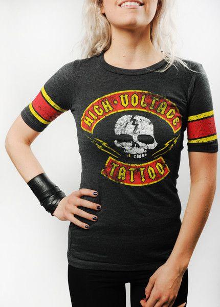 High Voltage Tattoo Distressed Brigade Women\'s jersey Image ...