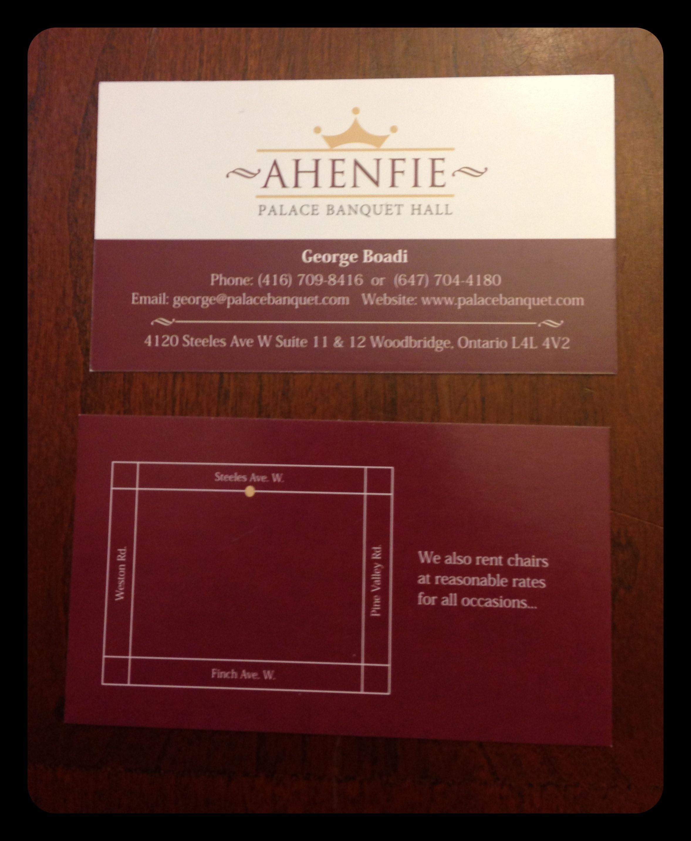 logo and business card design for ahenfie palace banquet hall we