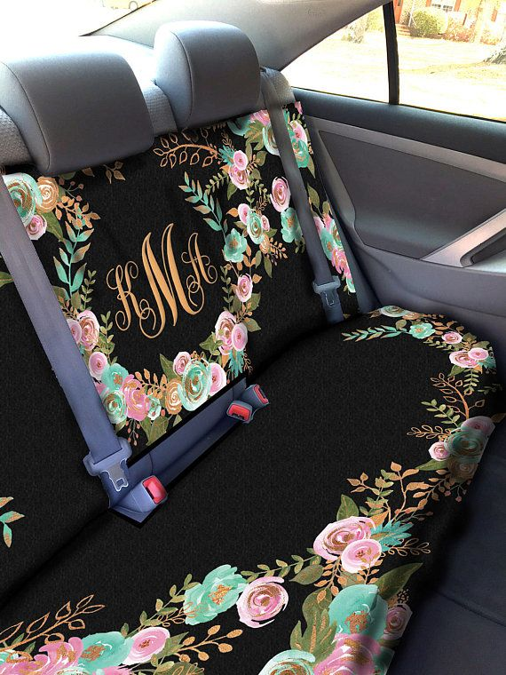 Mint And Gold Floral Car Seat Cover Back
