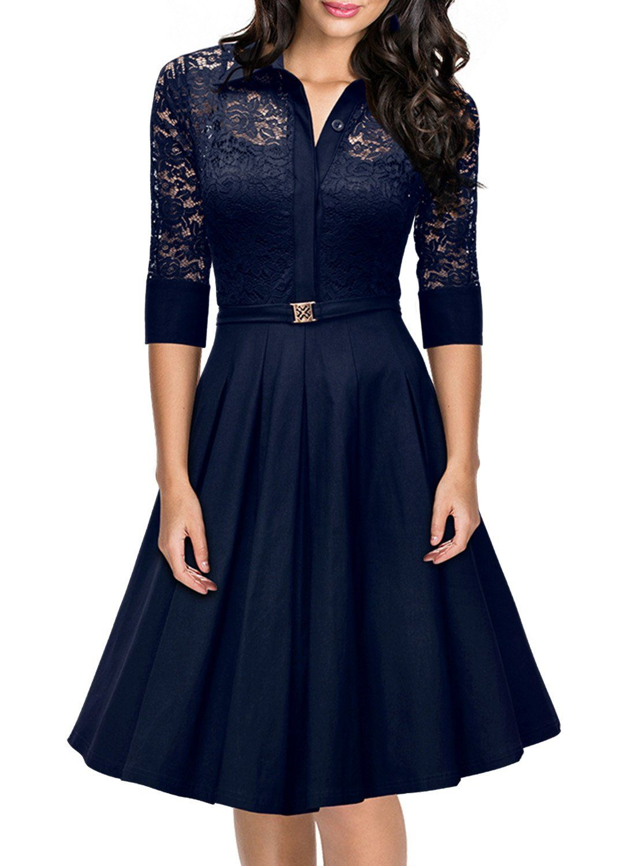 Missmay Womenus Vintage s Style  Sleeve Black Lace Flare A