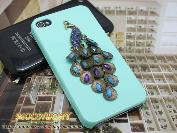 Beautiful Crystal Peacock And Light Green Hard Case by moonboat