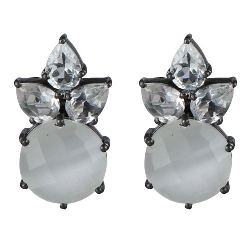 DIVINE Ørestikker i sort sølv med hvid månesten og hvid topas 2599,-