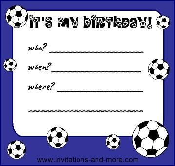 Birthday Party Invitation Templates Printable | Red Soccer ...