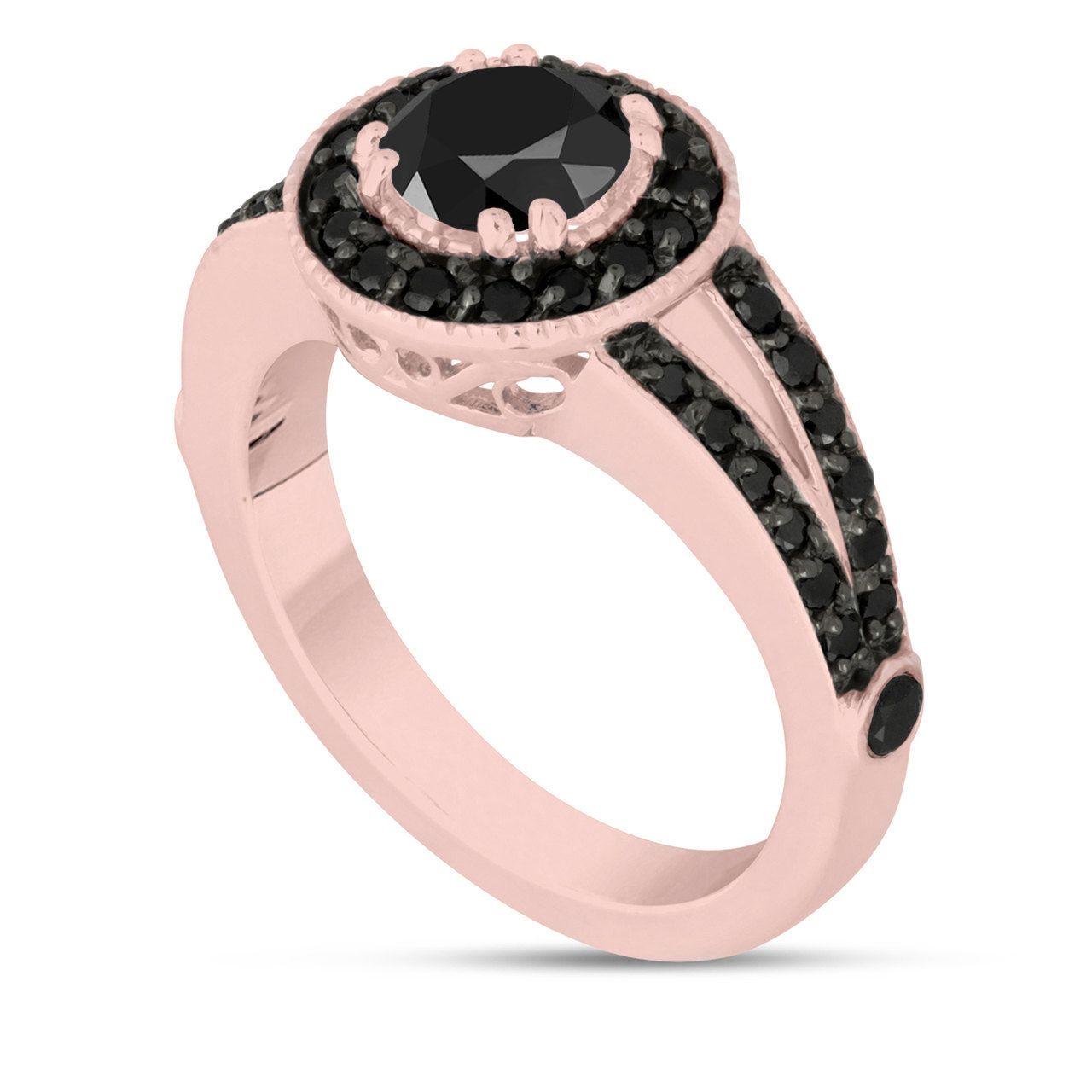 Fancy Black Diamonds Engagement Ring 14k Rose Gold 1.60 Carat Unique ...