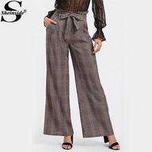 Sheinside Lazo de La Cintura Pantalones de Pierna Ancha 2017 de La Moda A  Cuadros Café 5fdd3d69a5b