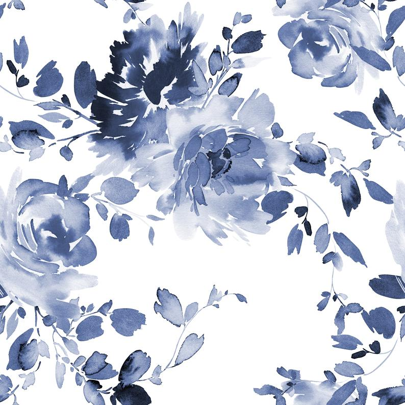Removable Self Adhesive Floral Wallpaper Lovely Blue Etsy In 2021 Floral Wallpaper Blue Floral Wallpaper Wallpaper