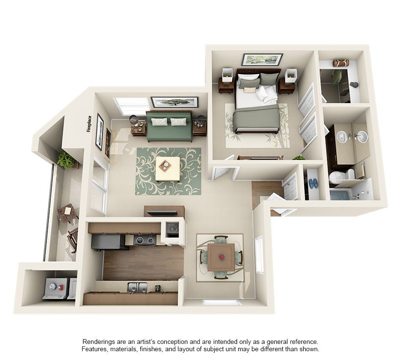 One And Two Bedroom Apartments In Austin Tx Floor Plans Apartment Layout Small House Layout Renting A House