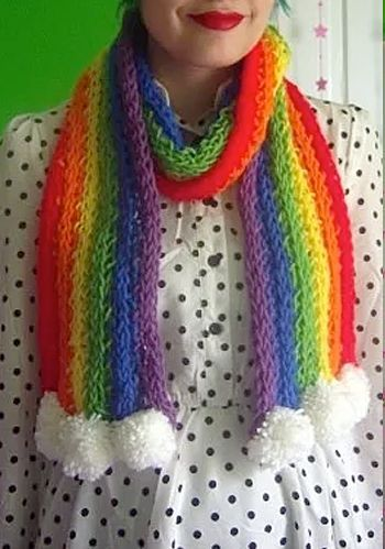Free Knitting Pattern For Finger Knit Rainbow Scarf This Easy