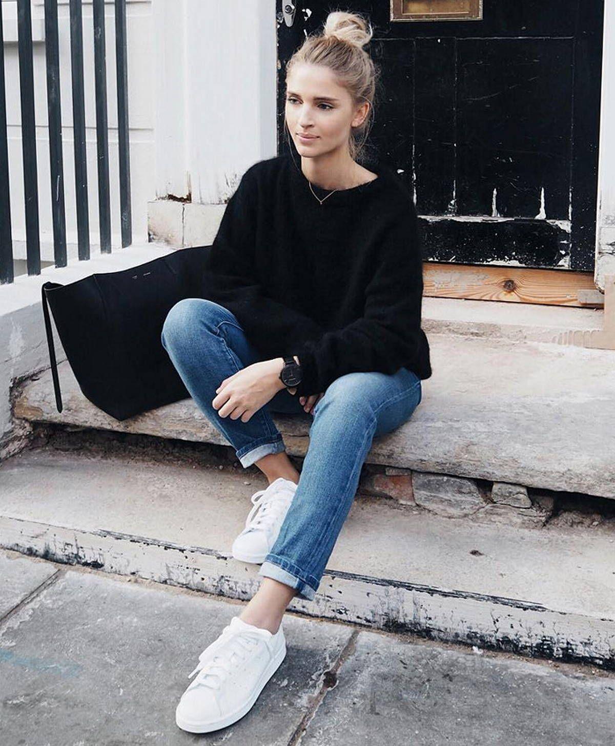 112 Women's White Sneakers Outfit Idea | Fashion, White