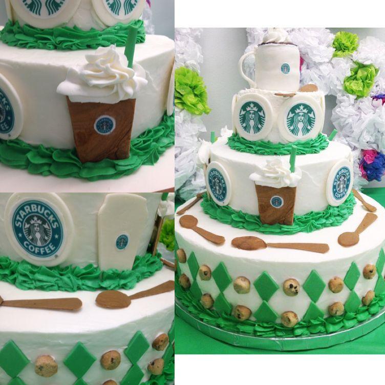 Starbucks themed birthday cake all edible fondant