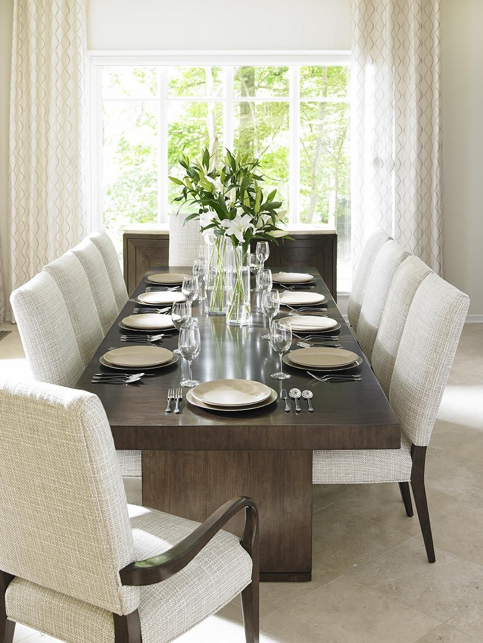Laurel Canyon Eleven Piece Dining Set With San Lorenzo Table And Married Fabric Sierra Chairs By Lexington At Baer S Furniture Rectangular Dining Room Set Rectangular Dining Table Dining Room Table Centerpieces