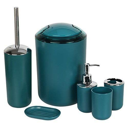 Keraiz 6 Pieces Bathroom Accessories Set Plastic Bathroom Accessories Toothbrush Ho Bathroom Accessories Sets Bathroom Accessories Toilet Brush