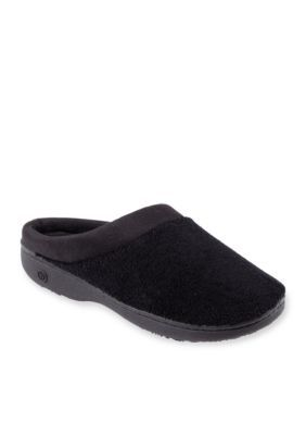 Isotoner  Slippers Black Signature Microterry PillowStep Plus Matte Satin Hoodback Slipper