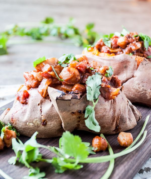Chana Masala Stuffed Sweet Potatoes