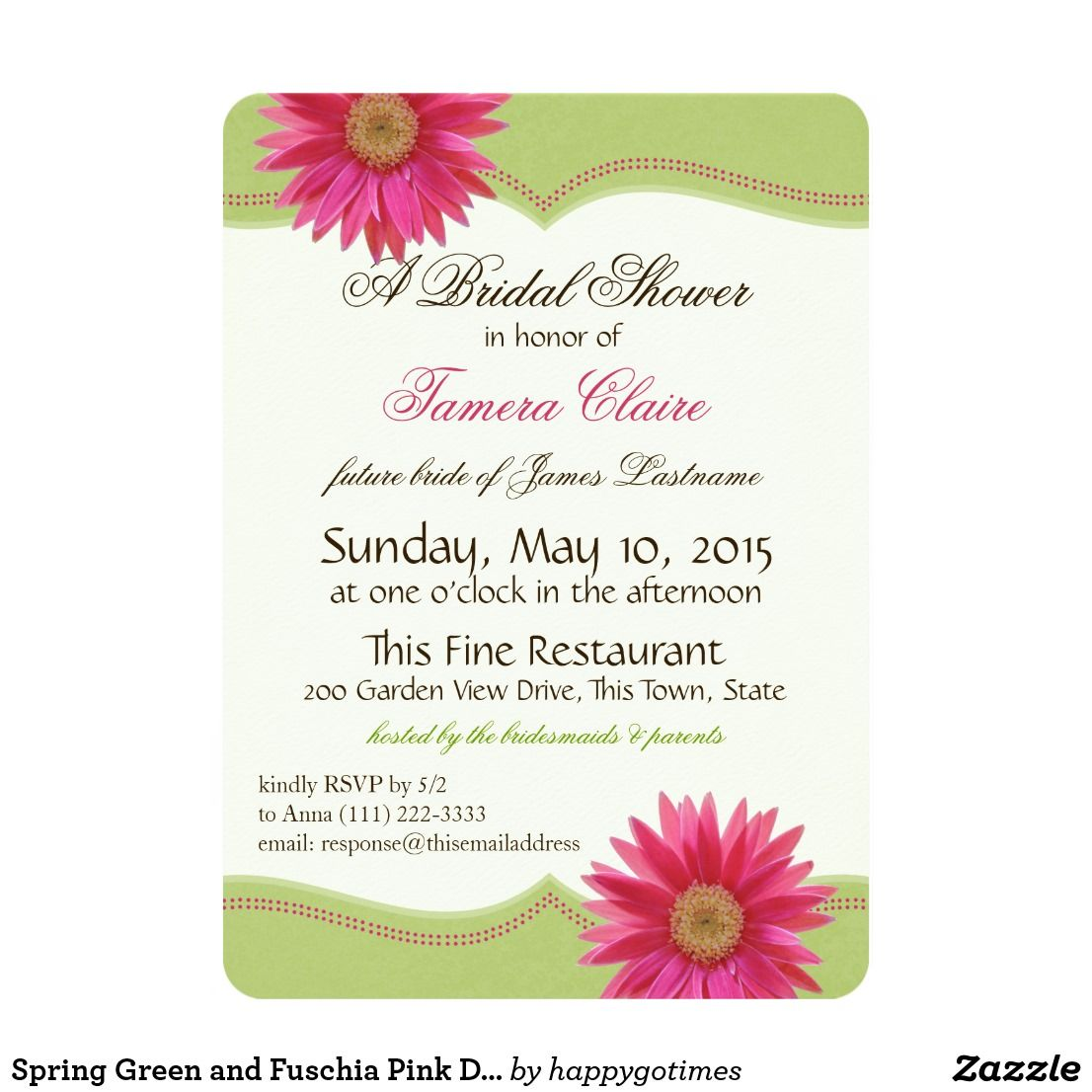Spring Green and Fuschia Pink Daisy Bridal Shower Card | Bridal ...