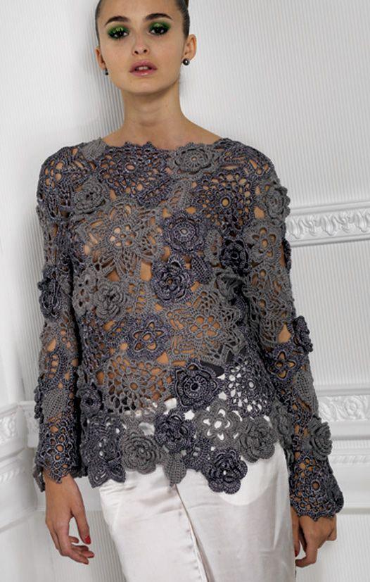 Crochet Blousa + Diagrams #irishcrochetflowers