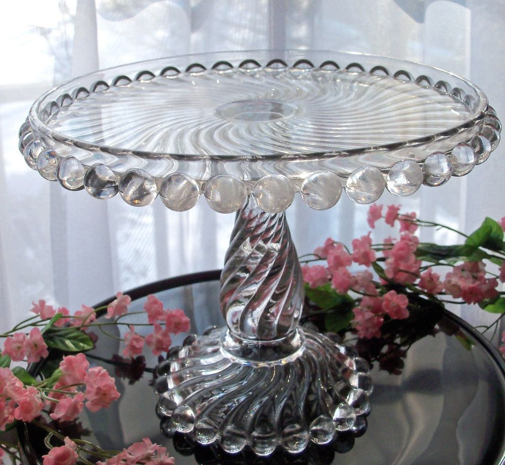 Eapg antique glass pedestal cake stand plate mckee swirl