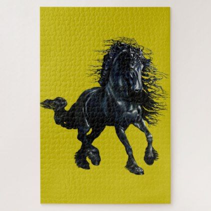 """""""Friesian Glow"""" black horse stallion (1014 piece) Jigsaw Puzzle - black gifts unique cool diy customize personalize"""
