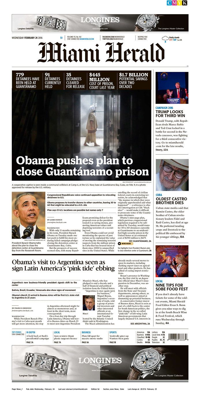 The Miami Herald Today S Front Pages Newseum Newseum How To Plan Herald