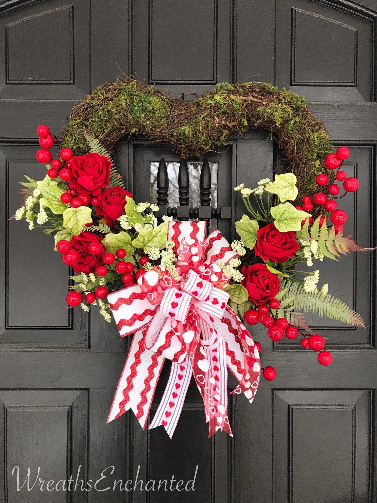 Valentines Day Wreath Front Door Heart Wreath Red Rose Wreath Red White Wreath Valentine Decor Valentine Day Wreaths Valentine Decorations Valentine Wreath