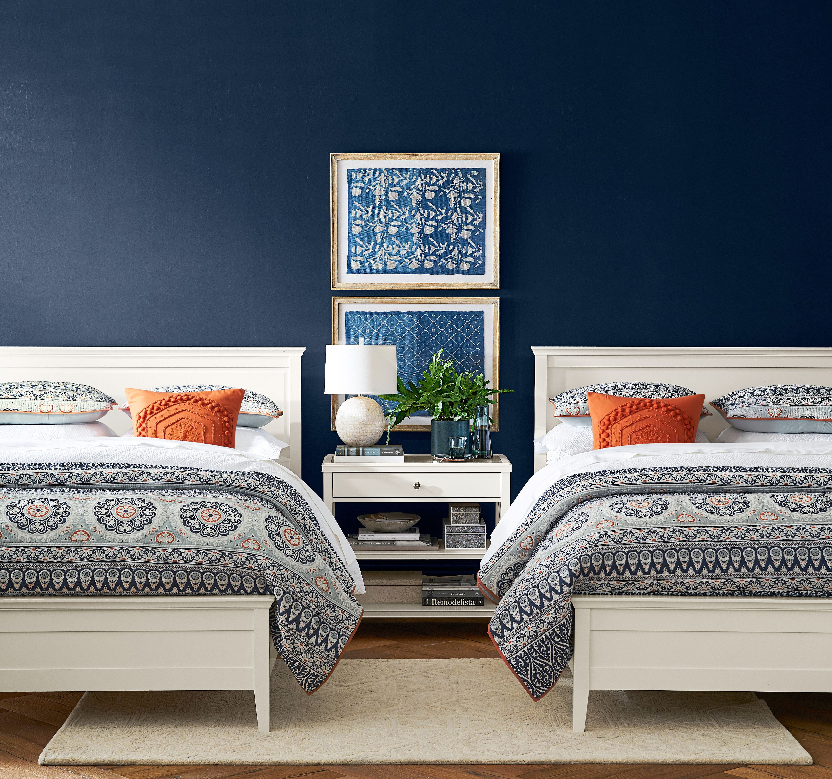 Coastal with color from Pottery Barn! Naval (SW 6244) from