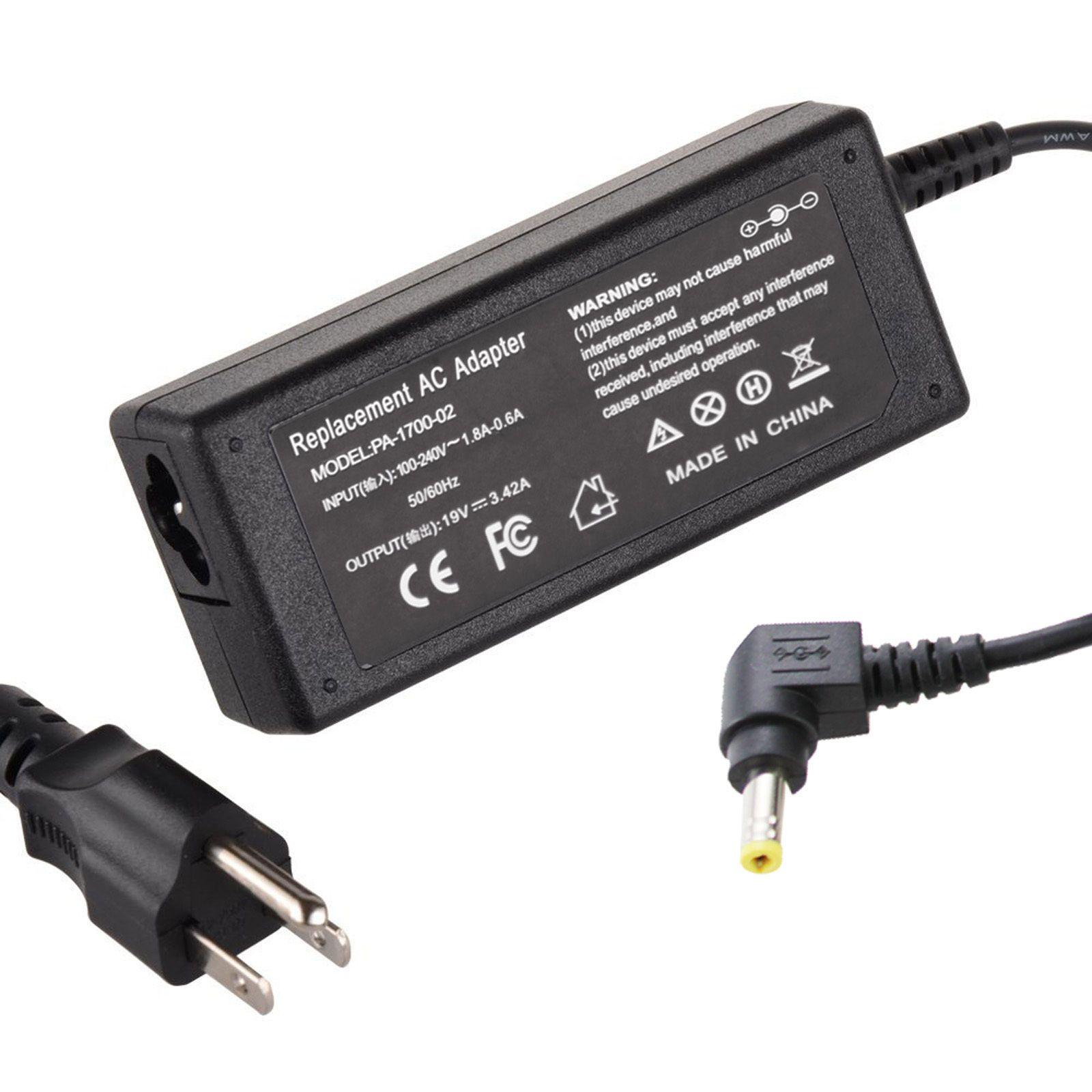 New Charger For Acer Aspire Power Cord Supply Adapter 19V 3.42A 65W 5.5mm2.5mm