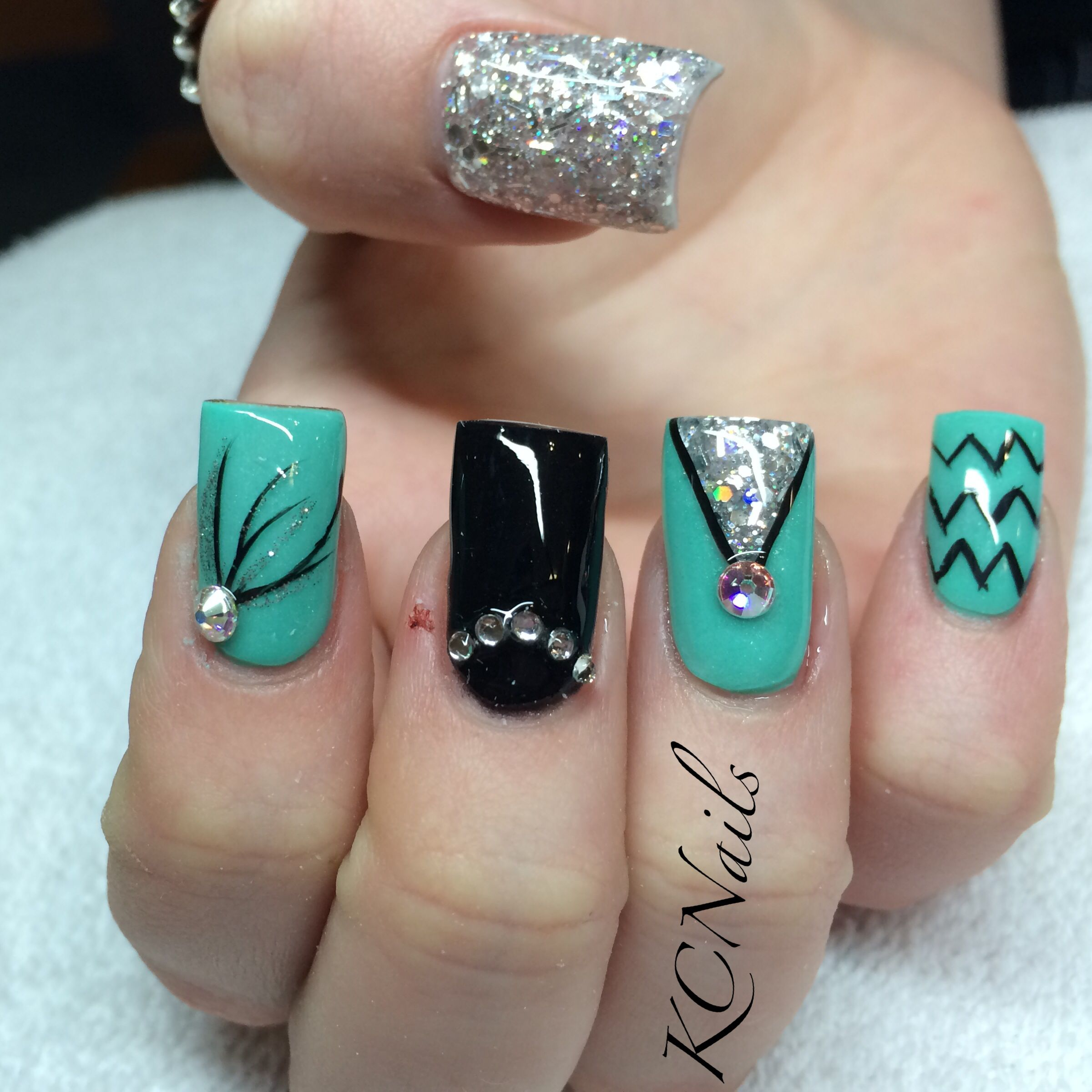 Mint green/teal, black and silver acrylic birthday nails. Geometric ...