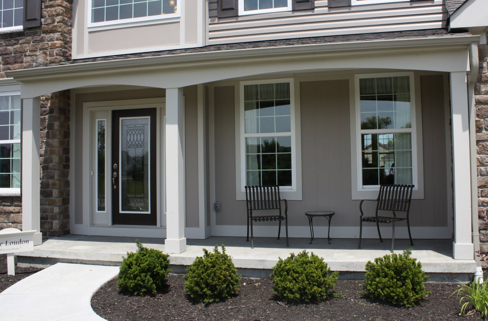Exterior cute contemporary front porch design and for Front porch patio designs