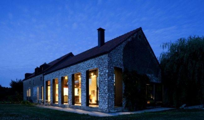 Amazing Landhaus Renovierung Satteldach Nachtbeleuchtung Fenster
