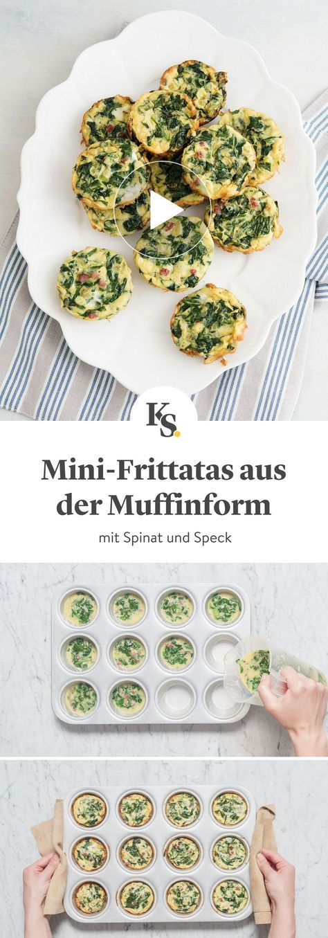 Mini-Frittatas mit Spinat und Speck | Rezept mit Video | Kitchen Stories