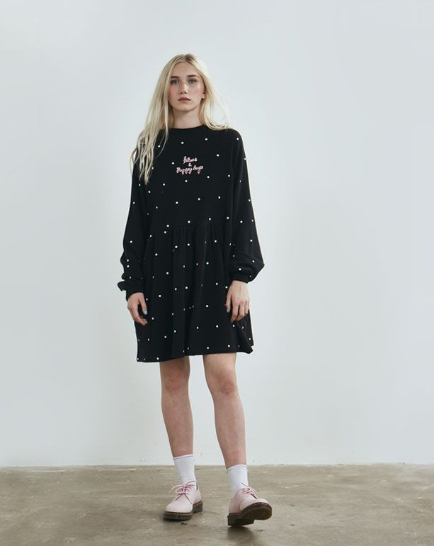 ef7072c0b2d Lazy Oaf Black Puppies and Kittens Sweater Dress - Everything - Categories  - Womens