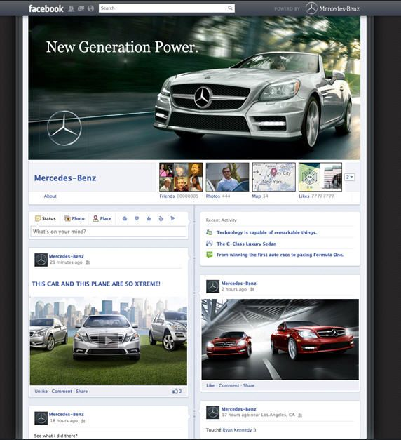 Sample Mercedes Timeline Fan Page (design commissioned by Mashable - sample advertising timeline