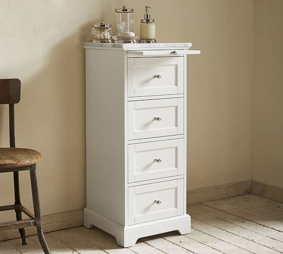 Marble Top Sundry Tower Small Bathroom Storage Cabinet Pedestal