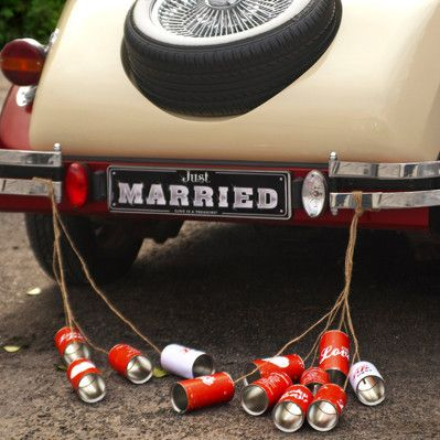 Red Tin Cans For Wedding Cars