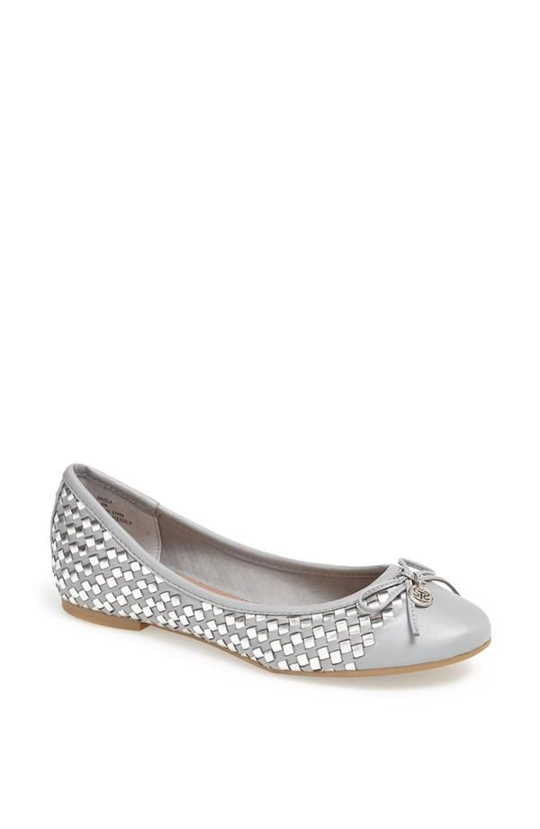5ddd072caed Silver ballet flats with a gorgeous woven finish. Blue Shoes, New Shoes